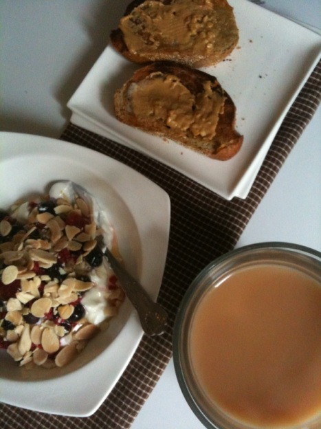 PB on ww toast, yogurt with frozen berries honey and almonds oh and tea